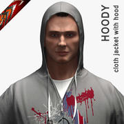 Cloth Hoodie - Jacket with Hood 3d model