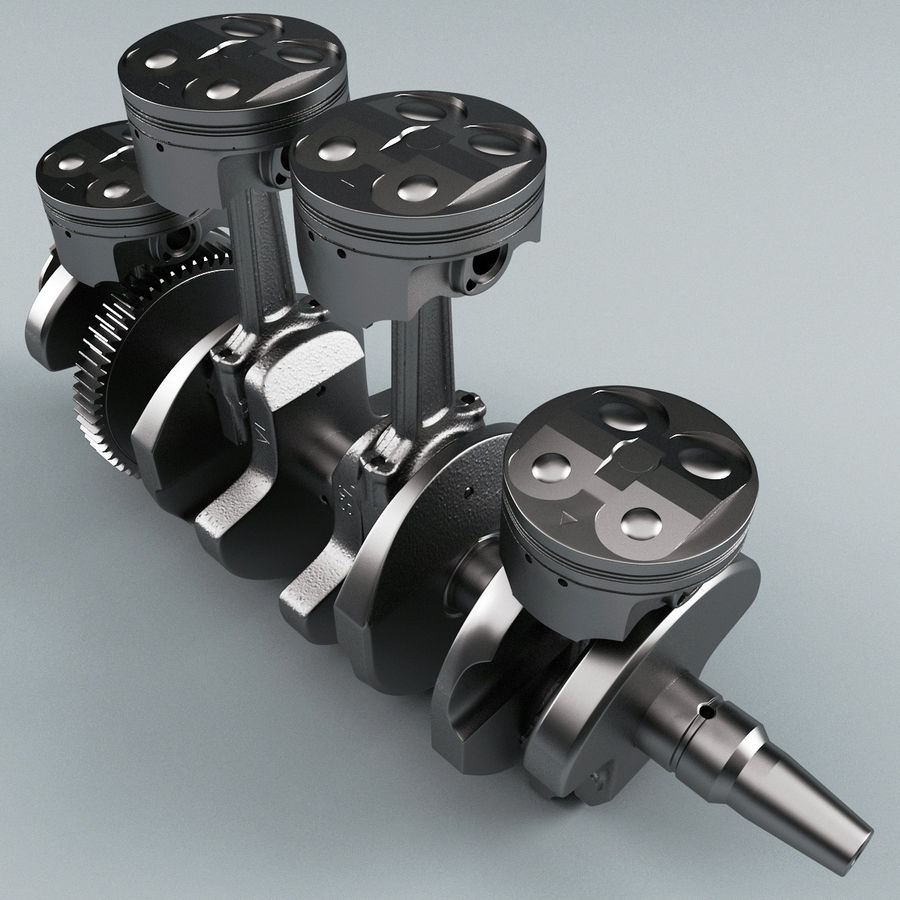 Yamaha Crankshaft and Piston royalty-free 3d model - Preview no. 5