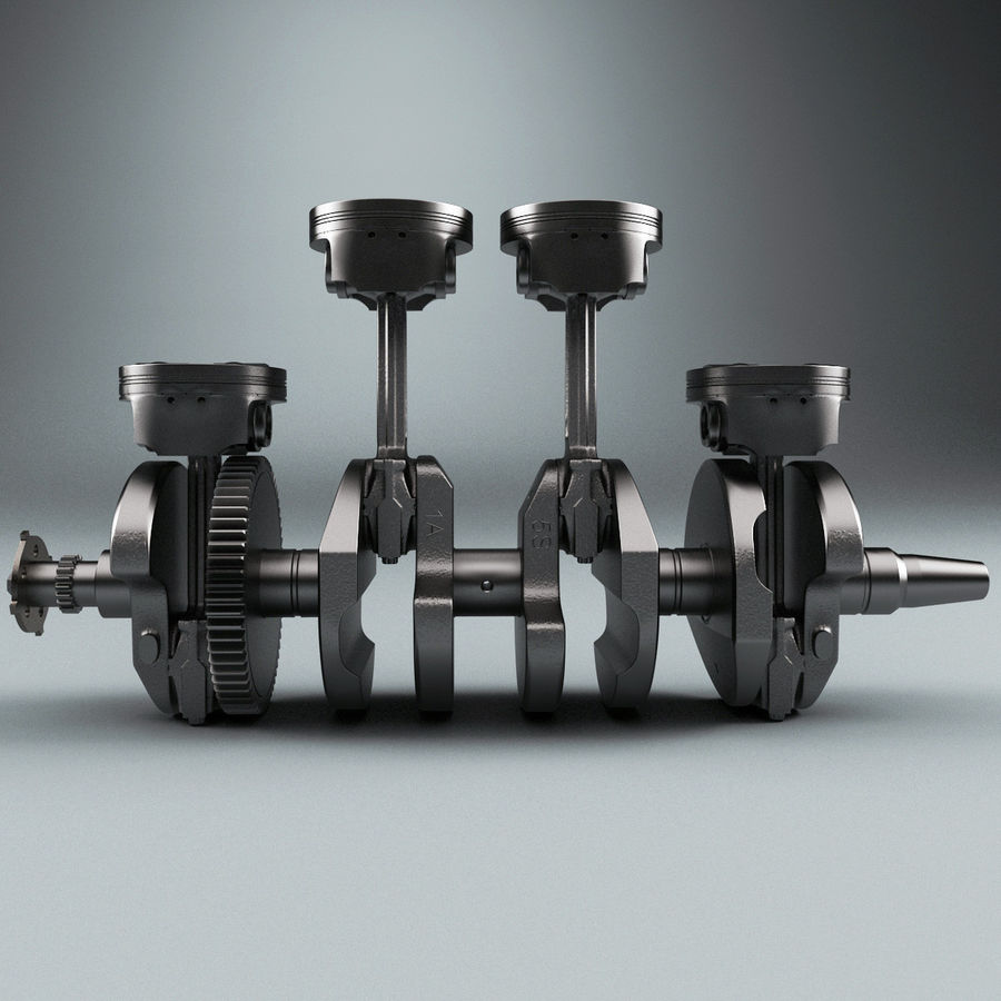 Yamaha Crankshaft and Piston royalty-free 3d model - Preview no. 2