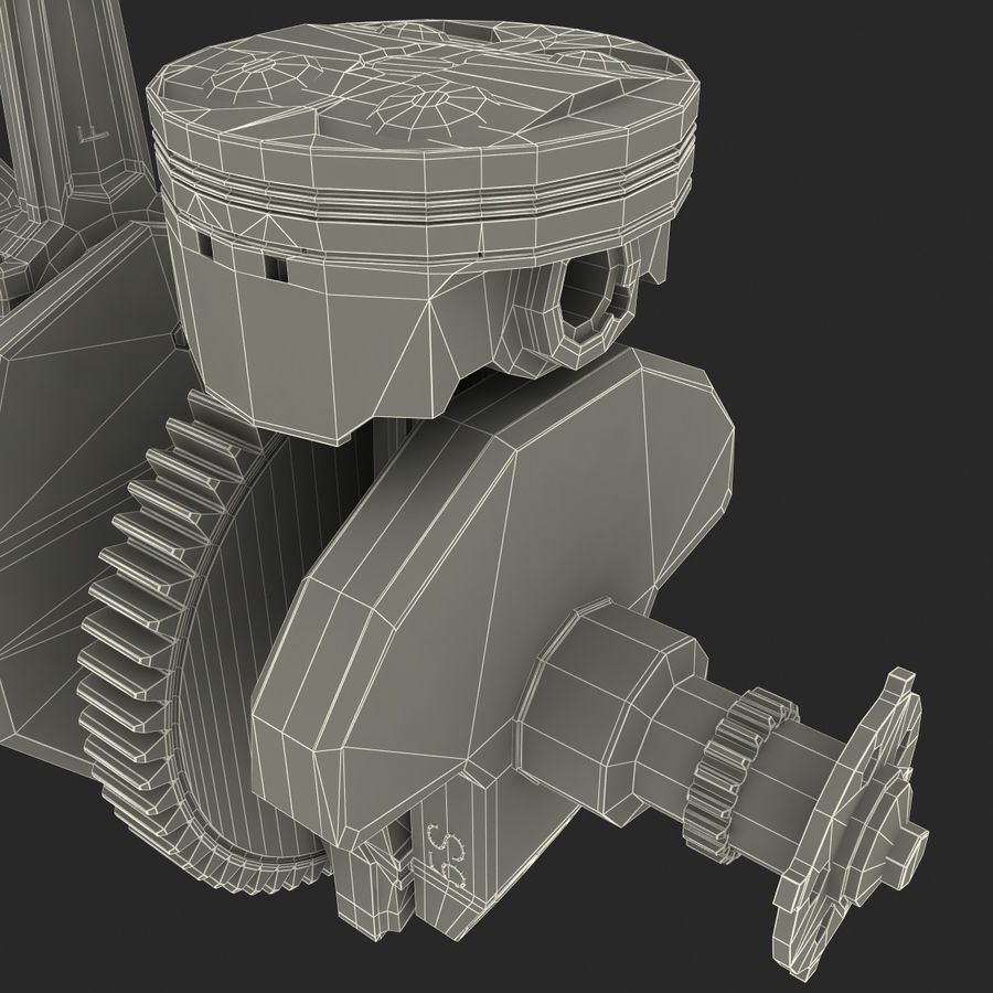 Yamaha Crankshaft and Piston royalty-free 3d model - Preview no. 18
