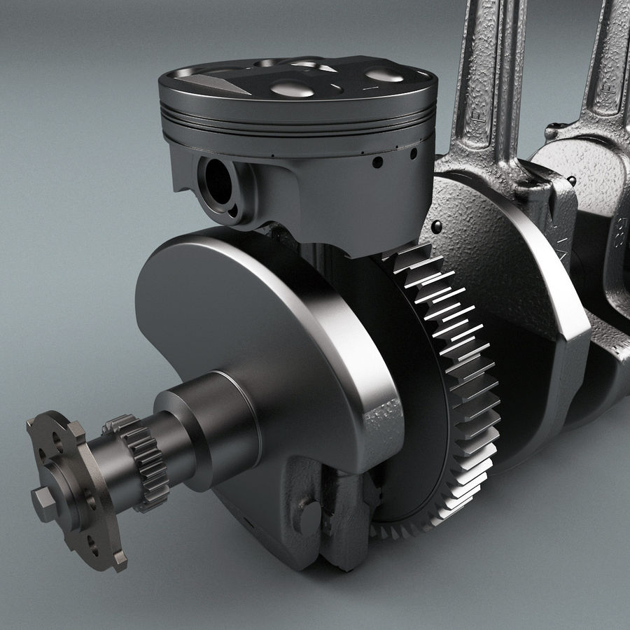 Yamaha Crankshaft and Piston royalty-free 3d model - Preview no. 7