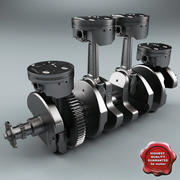 Yamaha Crankshaft and Piston 3d model