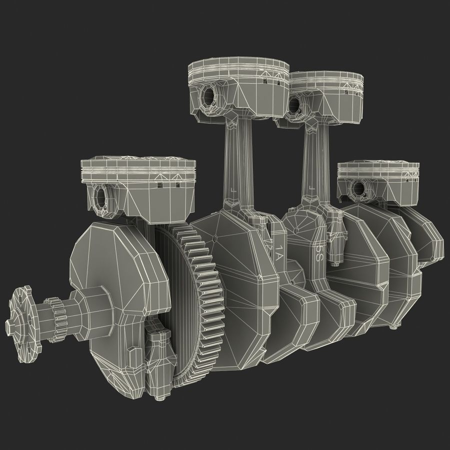 Yamaha Crankshaft and Piston royalty-free 3d model - Preview no. 14