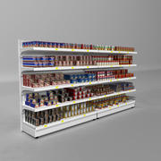 Supermarket Shelves Canned Meals 3d model