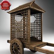 중국어 목제 장바구니 3d model