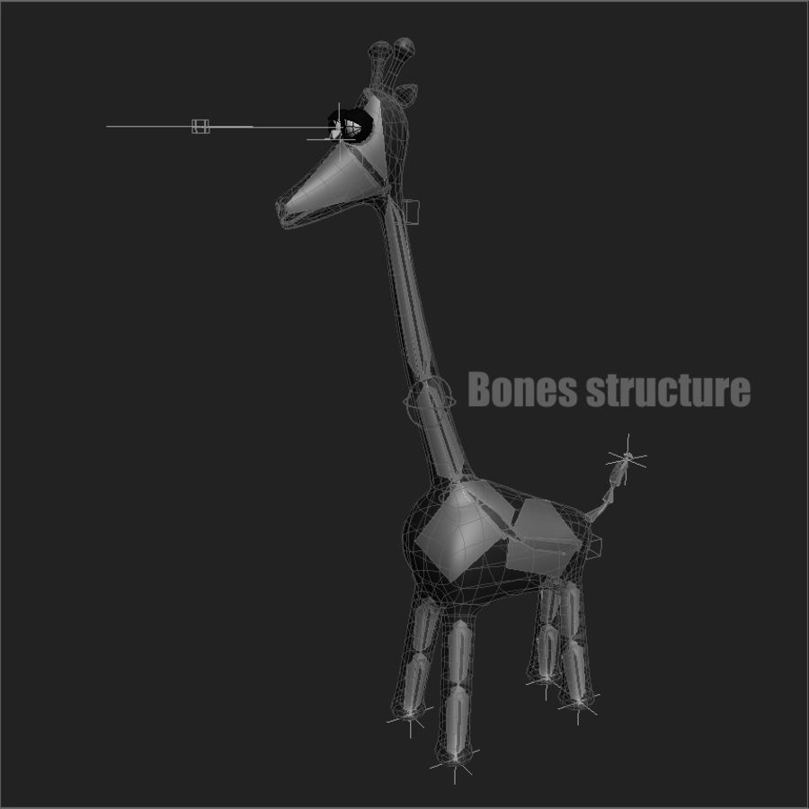 Cartoon Giraffe - RIGGED royalty-free 3d model - Preview no. 6