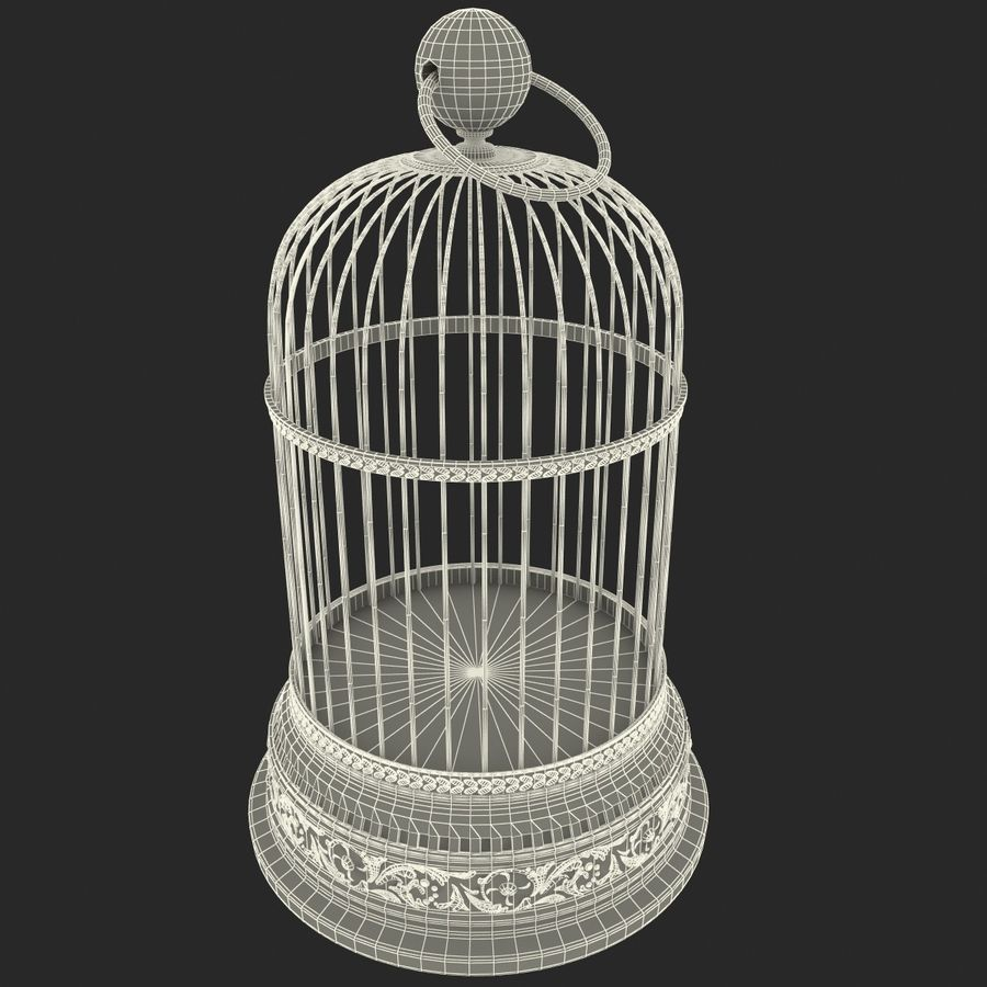 Old Bird Cage royalty-free 3d model - Preview no. 8