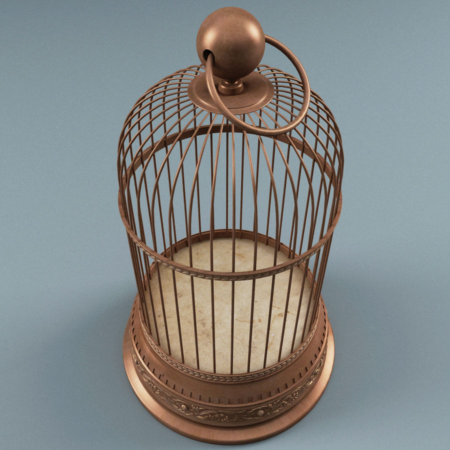 Old Bird Cage royalty-free 3d model - Preview no. 3