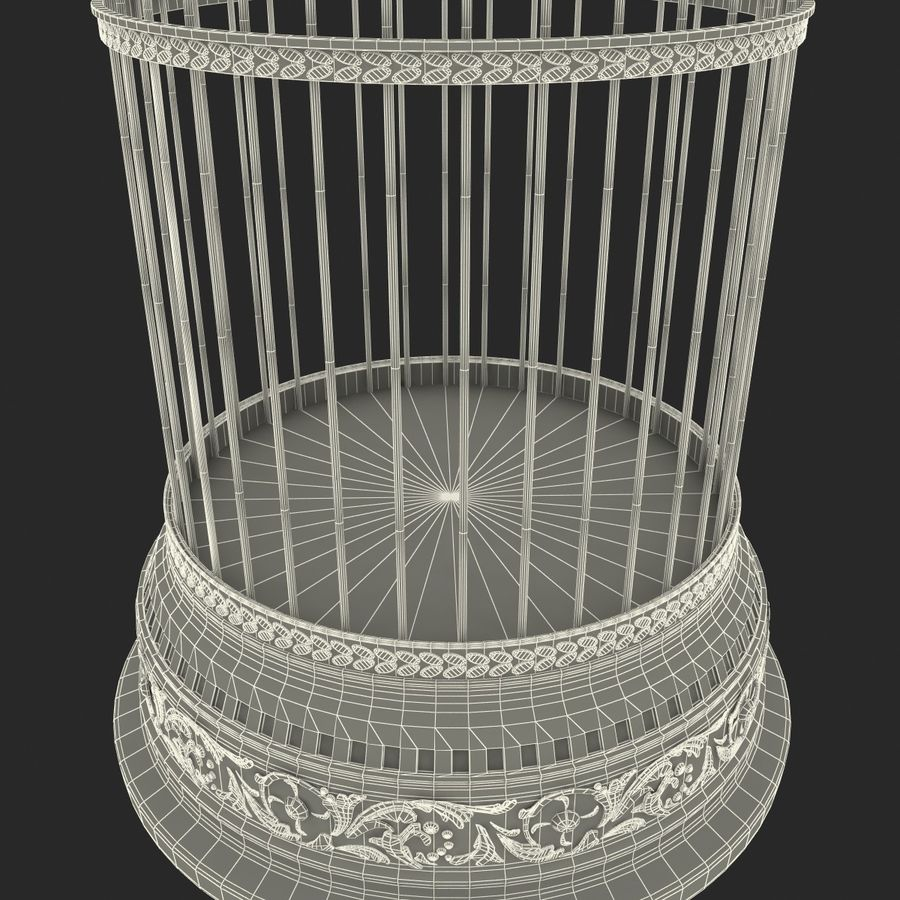 Old Bird Cage royalty-free 3d model - Preview no. 10