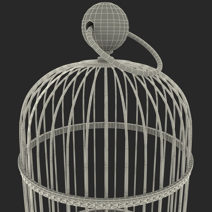 Old Bird Cage royalty-free 3d model - Preview no. 9