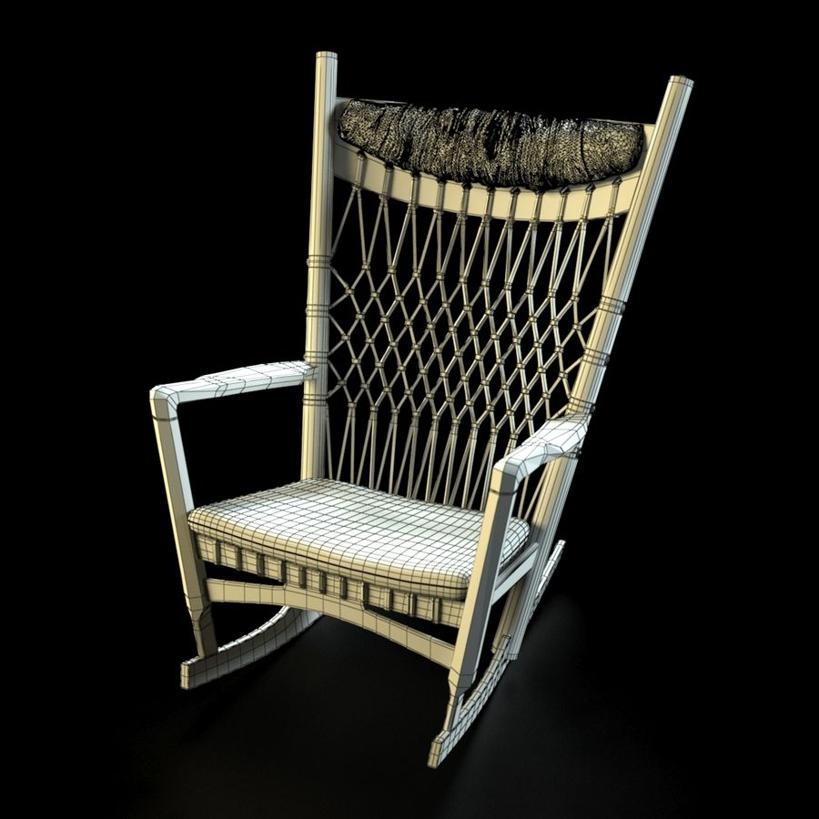 Hans Wegner PP124椅子 royalty-free 3d model - Preview no. 5