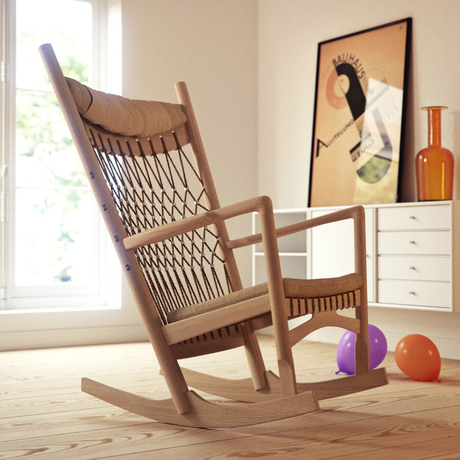 Hans Wegner PP124椅子 royalty-free 3d model - Preview no. 7