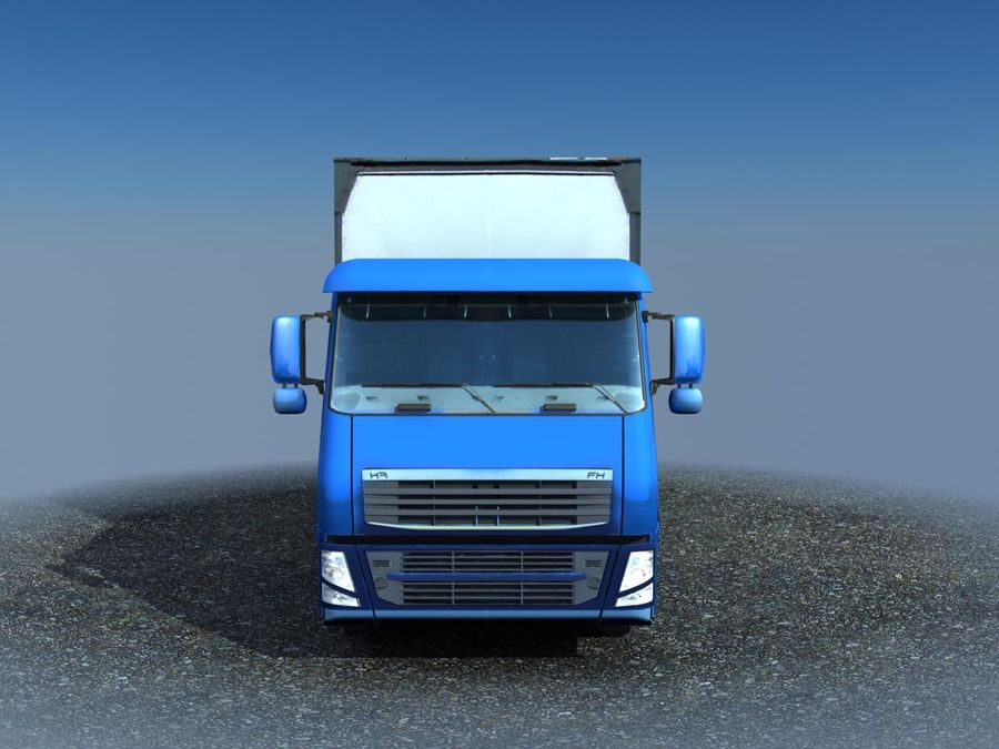 Big Cargo blue Truck royalty-free 3d model - Preview no. 4