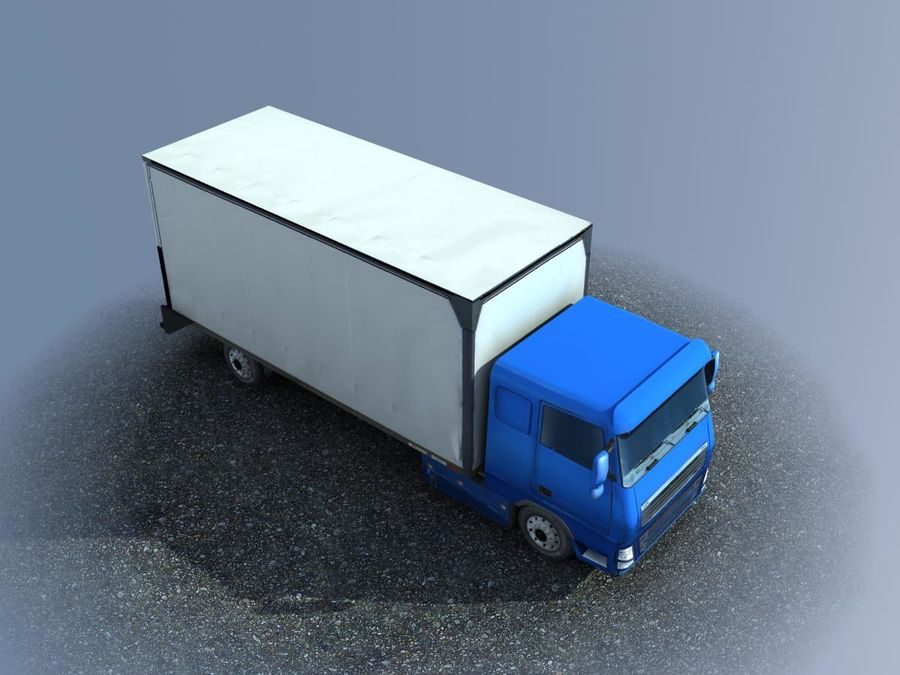 Big Cargo blue Truck royalty-free 3d model - Preview no. 5