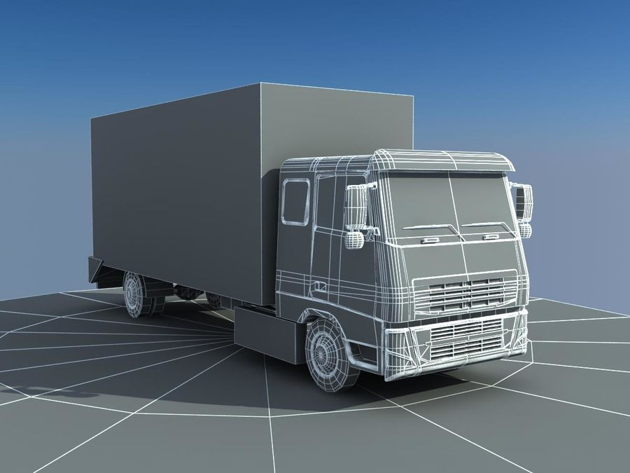 Big Cargo blue Truck royalty-free 3d model - Preview no. 6