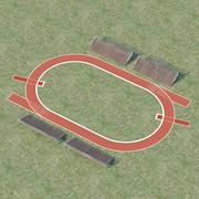跑道和长凳 3d model