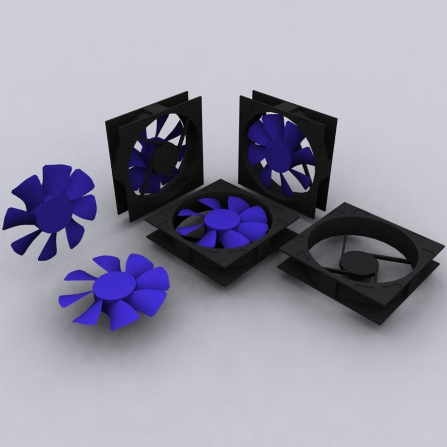 120MM Computer Fan royalty-free 3d model - Preview no. 2