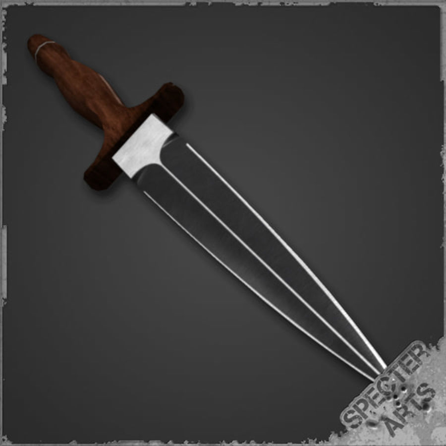 Spear point dagger royalty-free 3d model - Preview no. 4