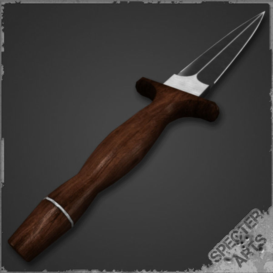 Spear point dagger royalty-free 3d model - Preview no. 5