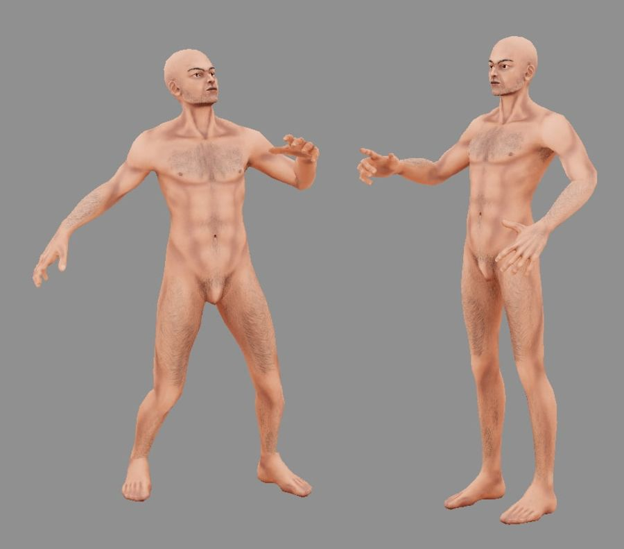 Человек Мужчина Бас Голый royalty-free 3d model - Preview no. 8