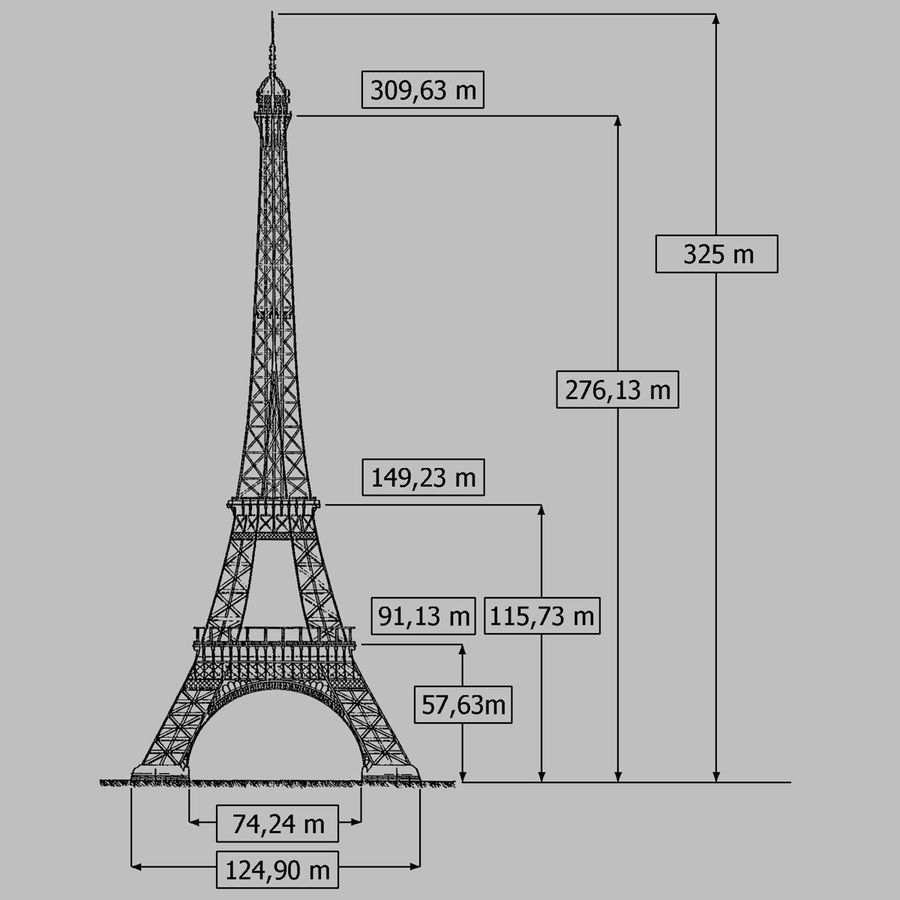 Torre Eiffel royalty-free 3d model - Preview no. 9