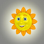 cartoon sun 1 3d model