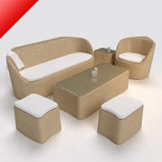Ротанг Lounge Диван с Табурет 01 3d model