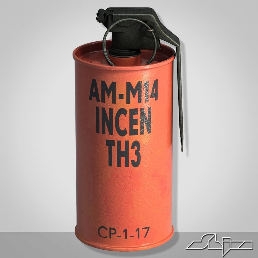 Grenade An M18 Red Explosive royalty-free 3d model - Preview no. 1