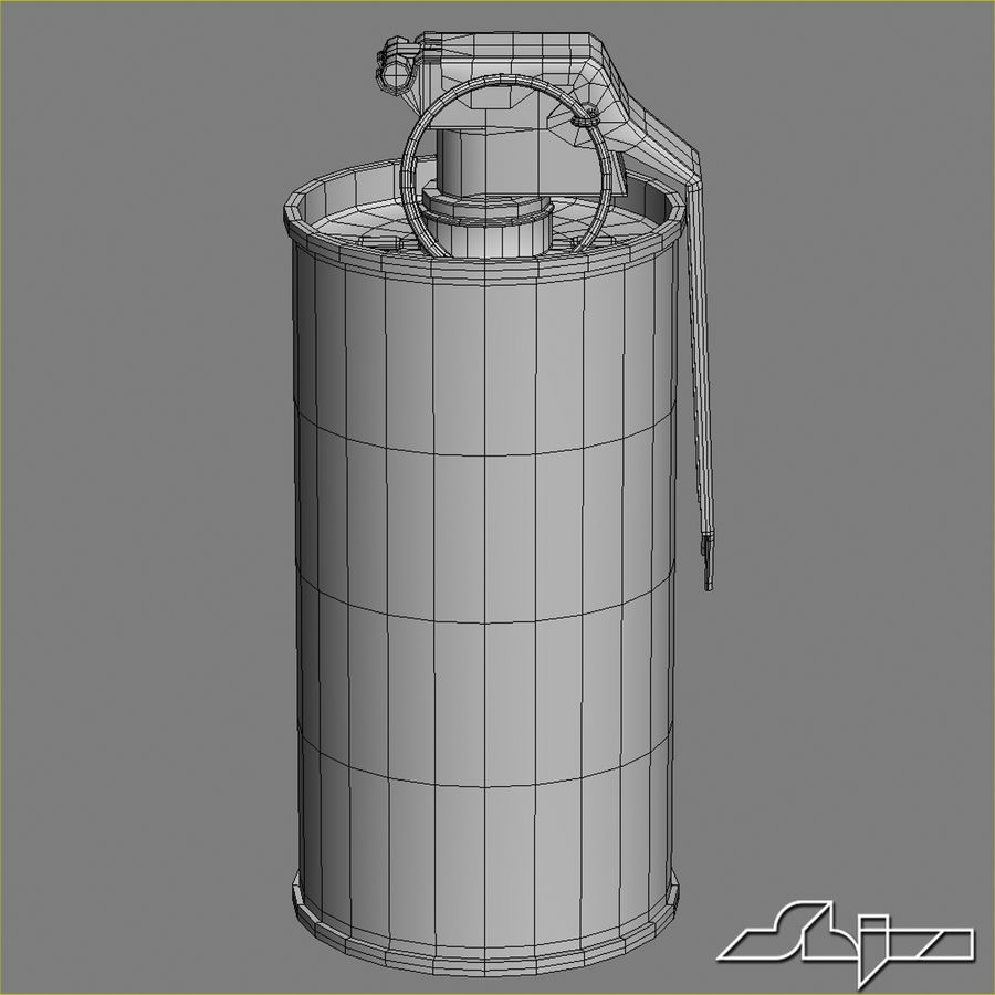 Grenade An M18 Red Explosive royalty-free 3d model - Preview no. 6