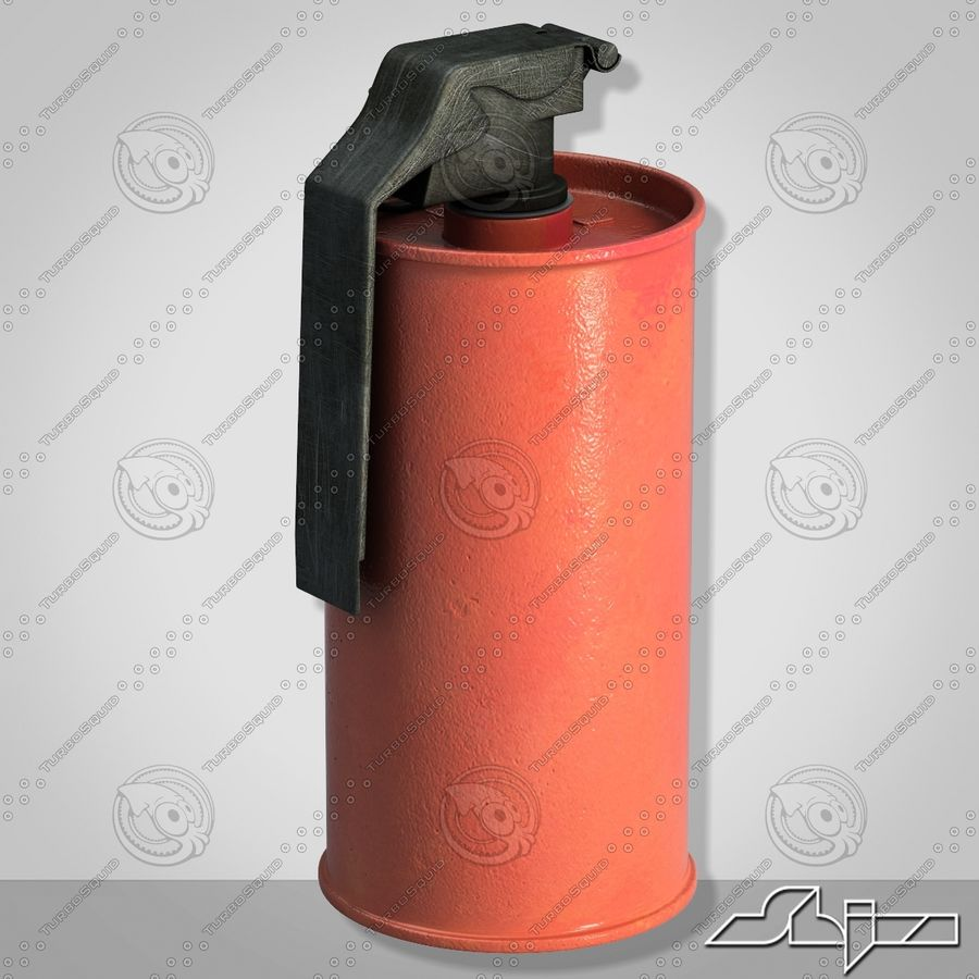 Grenade An M18 Red Explosive royalty-free 3d model - Preview no. 2