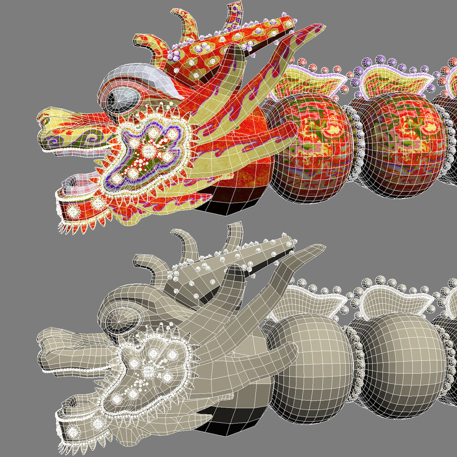 Chiński smok latawiec royalty-free 3d model - Preview no. 8