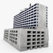 Edificio con estacionamiento modelo 3d