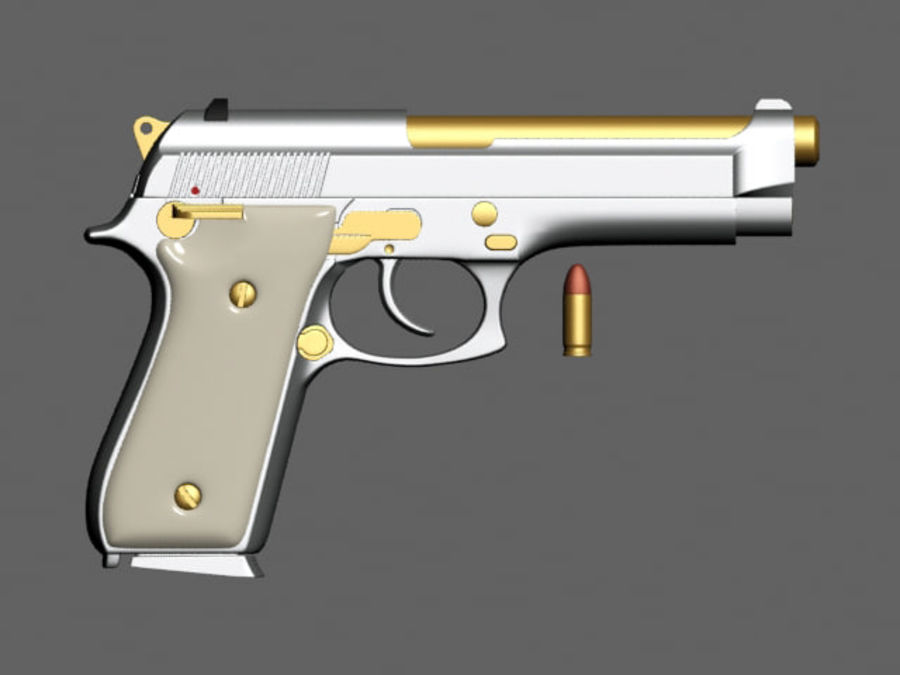 9mm | Taurus PT92 royalty-free 3d model - Preview no. 3
