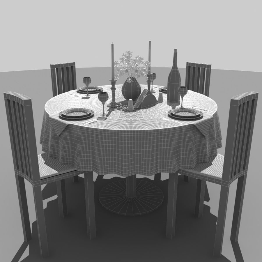 Restaurant Table royalty-free 3d model - Preview no. 7
