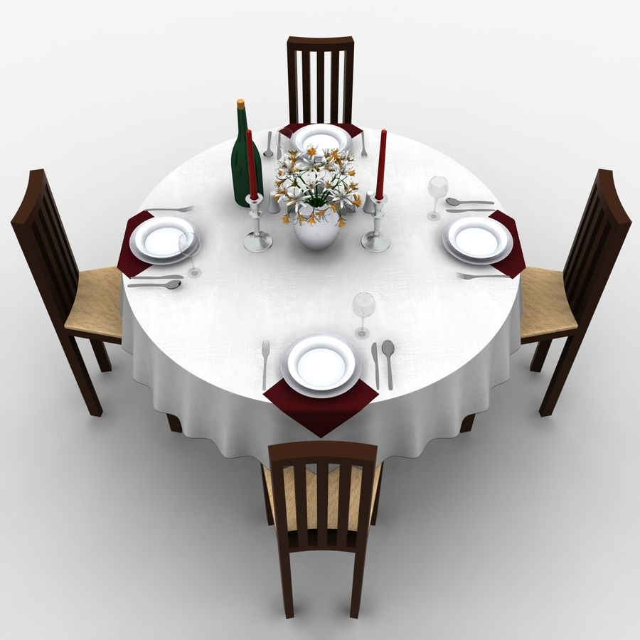 Restaurant Table royalty-free 3d model - Preview no. 4