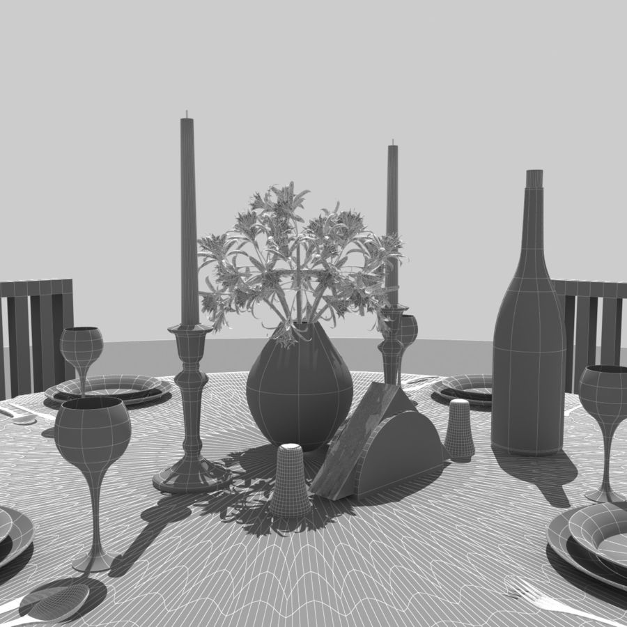 Restaurant Table royalty-free 3d model - Preview no. 10
