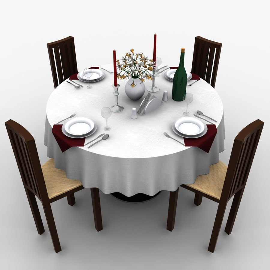 Restaurant Table royalty-free 3d model - Preview no. 6