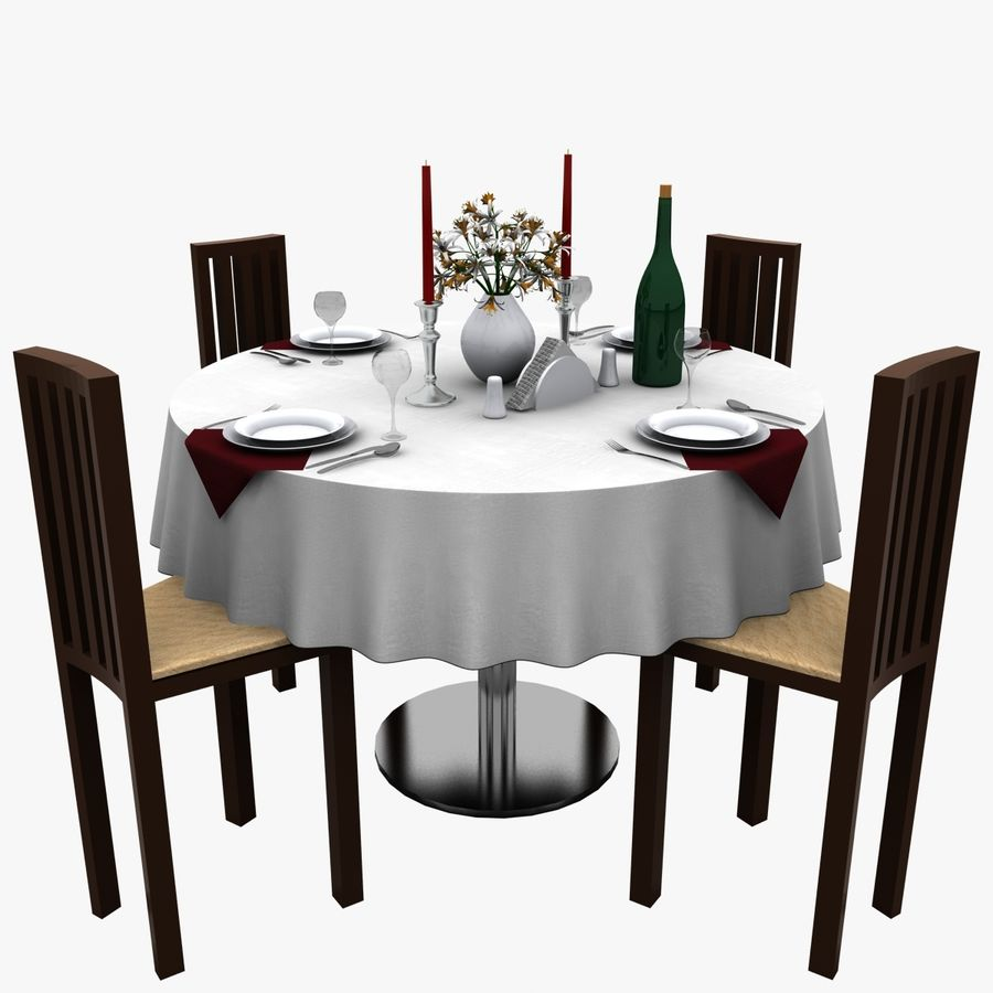 Restaurant Table royalty-free 3d model - Preview no. 1