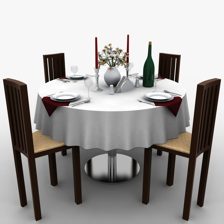 Restaurant Table royalty-free 3d model - Preview no. 2