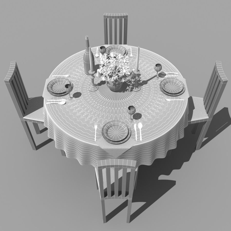 Restaurant Table royalty-free 3d model - Preview no. 9