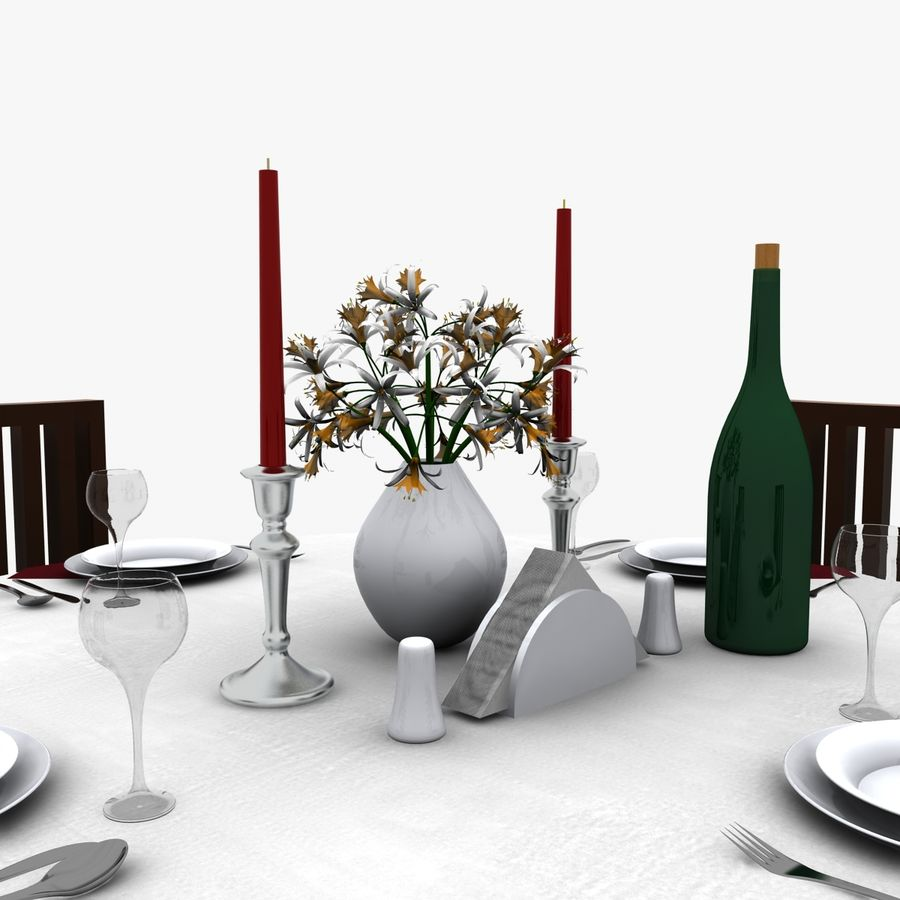 Restaurant Table royalty-free 3d model - Preview no. 5