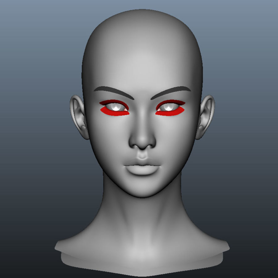 Girl Head royalty-free 3d model - Preview no. 2