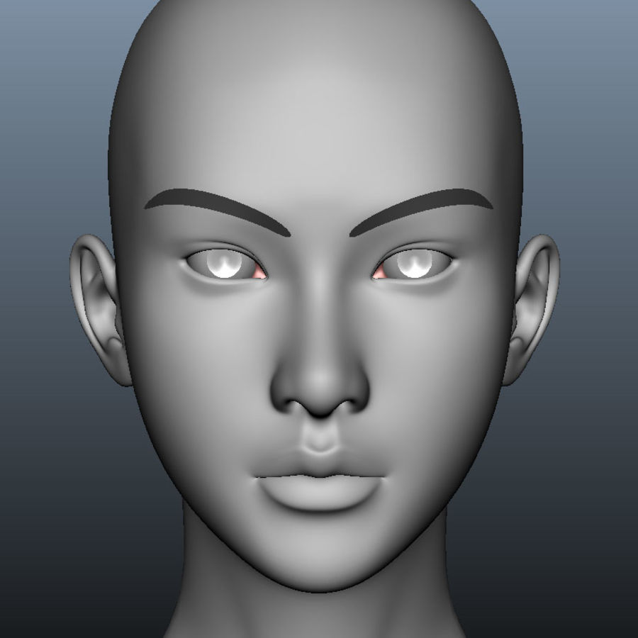 Girl Head royalty-free 3d model - Preview no. 4