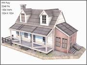 Sömürge tahta ev, düşük Poli, dokulu 3d model