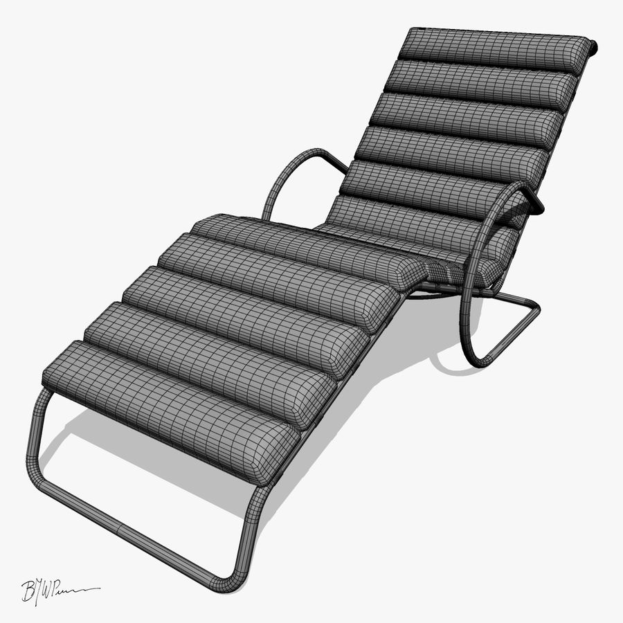 Krzesło szezlongowe MR z ramionami royalty-free 3d model - Preview no. 3