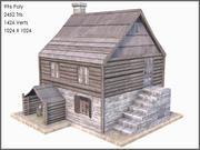 Sömürge kütük ev, düşük Poli, dokulu 3d model