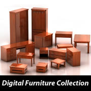 Collection de meubles en bois 3d model