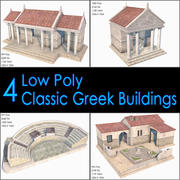 Classic Greek Buildings Collection, Low Poly, Textured 3d model