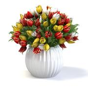Tulip flower bouquet in the vase 3d model
