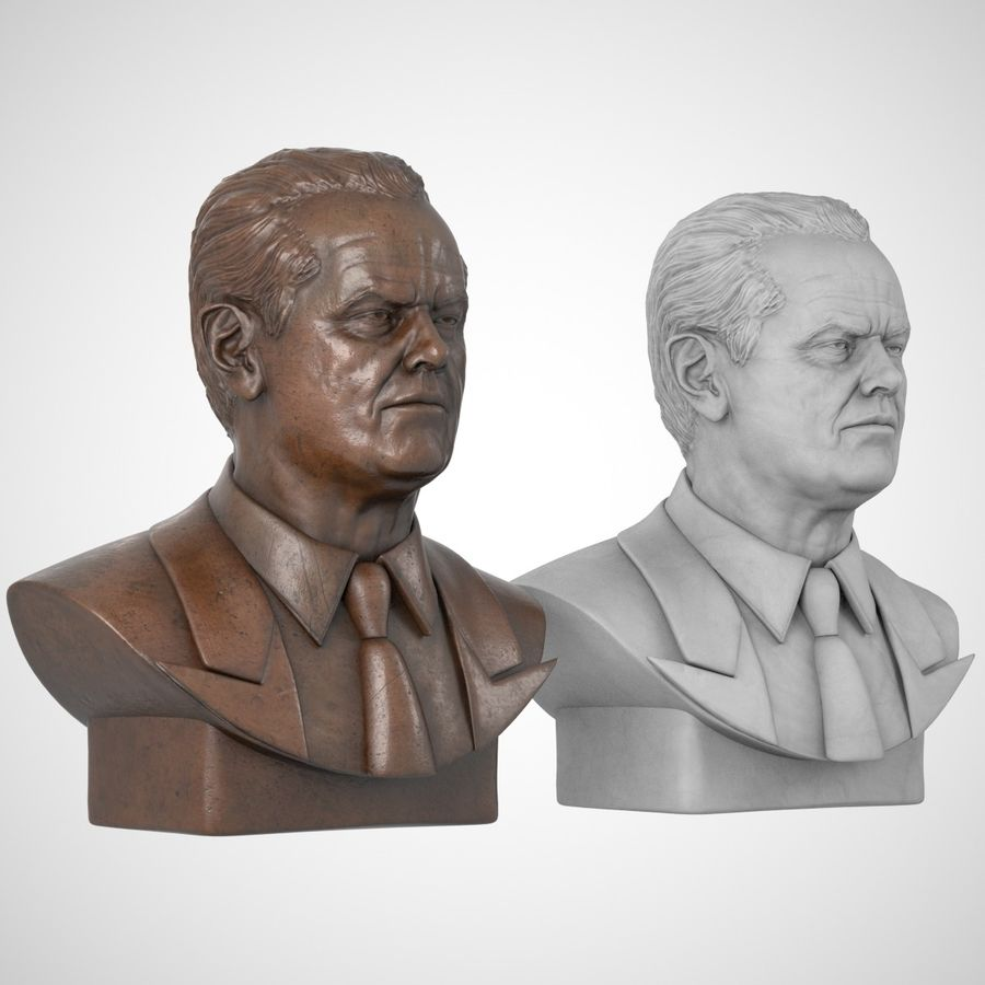 Jack Nicholson Bust royalty-free 3d model - Preview no. 5